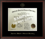 The American Board of General Dentistry Certificate Frame - Gold Embossed Certificate Frame in Studio