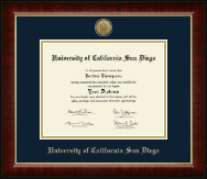 University of California San Diego Diploma Frame - Gold Engraved Medallion Diploma Frame in Murano