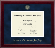 University of California San Diego Diploma Frame - Gold Embossed Diploma Frame in Gallery