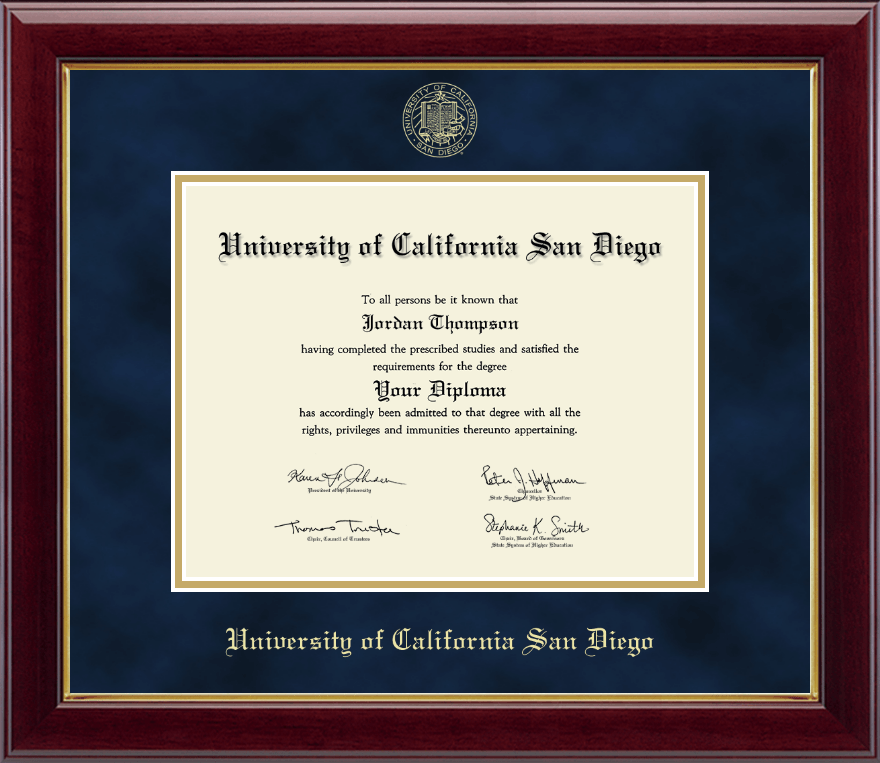 University of California San Diego Gold Embossed Diploma Frame in ...