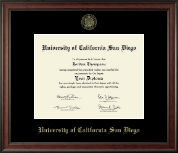 University of California San Diego Diploma Frame - Gold Embossed Diploma Frame in Studio