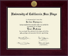 University of California San Diego Diploma Frame - Century Gold Engraved Diploma Frame in Cordova
