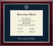 University of Dallas Diploma Frame - Silver Embossed Diploma Frame in Gallery Silver