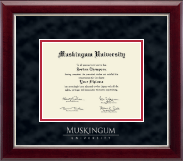 Muskingum University Diploma Frame - Silver Embossed Diploma Frame in Gallery Silver