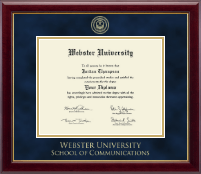 Webster University Diploma Frame - Gold Embossed Diploma Frame in Gallery