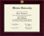Webster University Diploma Frame - Century Gold Engraved Diploma Frame in Cordova