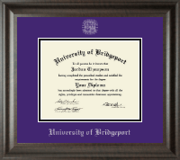 University of Bridgeport Diploma Frame - Silver Embossed Diploma Frame in Acadia