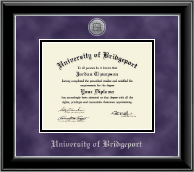 University of Bridgeport Diploma Frame - Silver Engraved Medallion Diploma Frame in Onyx Silver