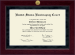 United States Bankruptcy Court Certificate Frame - Millennium Gold Engraved Certificate Frame in Cordova