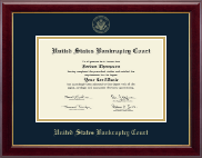 United States Bankruptcy Court Certificate Frame - Gold Embossed Certificate Frame in Gallery