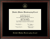 United States Bankruptcy Court Certificate Frame - Gold Embossed Certificate Frame in Studio