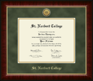 St. Norbert College Diploma Frame - Gold Engraved Medallion Diploma Frame in Murano
