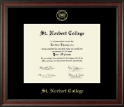 St. Norbert College Diploma Frame - Gold Embossed Diploma Frame in Studio