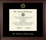 Saint Ambrose University Diploma Frame - Gold Embossed Diploma Frame in Studio