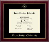 Texas Southern University Diploma Frame - Gold Embossed Diploma Frame in Gallery