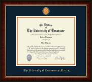 The University of Tennessee Martin Diploma Frame - Brass Masterpiece Medallion Diploma Frame in Murano
