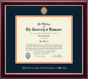 The University of Tennessee Martin Diploma Frame - Pewter Masterpiece Medallion Diploma Frame in Gallery Silver