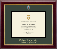 Tulane University School of Medicine Certificate Frame - Masterpiece Medallion Certificate Frame in Gallery