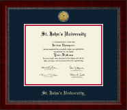 St. John's University, New York Diploma Frame - Gold Engraved Medallion Diploma Frame in Sutton