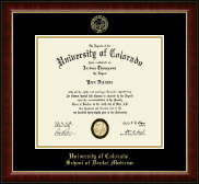 University of Colorado Diploma Frame - Gold Embossed Diploma Frame in Murano