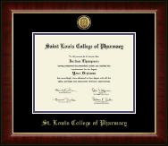 Saint Louis College of Pharmacy Diploma Frame - Gold Engraved Medallion Diploma Frame in Murano