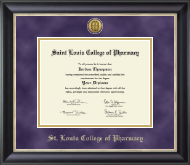 Saint Louis College of Pharmacy Diploma Frame - Gold Engraved Medallion Diploma Frame in Noir