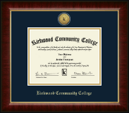 Kirkwood Community College Diploma Frame - Gold Engraved Medallion Diploma Frame in Murano
