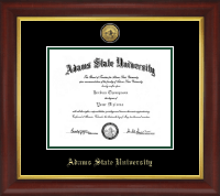 Adams State University  Diploma Frame - Gold Engraved Medallion Diploma Frame in Redding