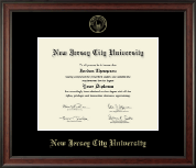 New Jersey City University Diploma Frame - Gold Embossed Diploma Frame in Studio