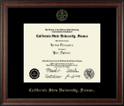 California State University Fresno Diploma Frame - Gold Embossed Diploma Frame in Studio