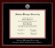 Indiana Wesleyan University  Diploma Frame - Silver Engraved Medallion Diploma Frame in Sutton