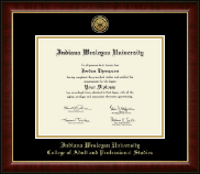 Indiana Wesleyan University  Diploma Frame - Gold Engraved Medallion Diploma Frame in Murano