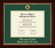 Western CUNA Management School Certificate Frame - Gold Engraved Medallion Certificate Frame in Murano
