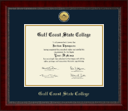 Gulf Coast State College Diploma Frame - Gold Engraved Medallion Diploma Frame in Sutton