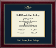 Gulf Coast State College Diploma Frame - Gold Embossed Diploma Frame in Gallery