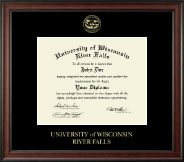 University of Wisconsin River Falls Diploma Frame - Gold Embossed Diploma Frame in Studio