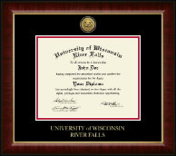 University of Wisconsin River Falls Diploma Frame - Gold Engraved Medallion Diploma Frame in Murano