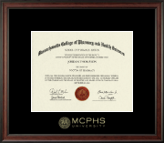 Massachusetts College of Pharmacy & Health Sciences Diploma Frame - MCPHS Gold Embossed Diploma Frame in Studio