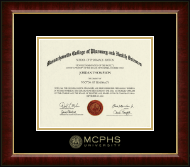 Massachusetts College of Pharmacy & Health Sciences Diploma Frame - MCPHS Gold Embossed Diploma Frame in Murano
