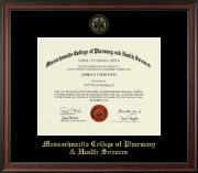 Massachusetts College of Pharmacy & Health Sciences Diploma Frame - Gold Embossed Diploma Frame in Studio