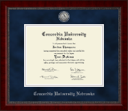 Concordia University in Nebraska Diploma Frame - Silver Engraved Medallion Diploma Frame in Sutton