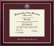 University of the Sciences in Philadelphia Diploma Frame - Silver Engraved Medallion Diploma Frame in Gallery Silver