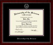 University of the Sciences in Philadelphia Diploma Frame - Silver Embossed Diploma Frame in Sutton