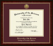 University of the Sciences in Philadelphia Diploma Frame - Gold Engraved Medallion Diploma Frame in Murano