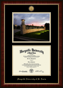 Maryville University of St. Louis Diploma Frame - Campus Scene Gold Engraved Diploma Frame in Murano