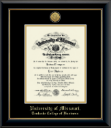 University of Missouri Columbia Diploma Frame - Gold Engraved Medallion Diploma Frame in Onyx Gold