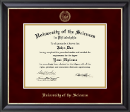 University of the Sciences in Philadelphia Diploma Frame - Gold Embossed Diploma Frame in Noir