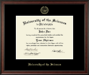 University of the Sciences in Philadelphia Diploma Frame - Gold Embossed Diploma Frame in Studio