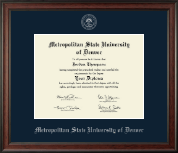 Metropolitan State University of Denver Diploma Frame - Silver Embossed Diploma Frame in Studio