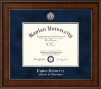 Kaplan University Diploma Frame - Presidential Silver Engraved Diploma Frame in Madison
